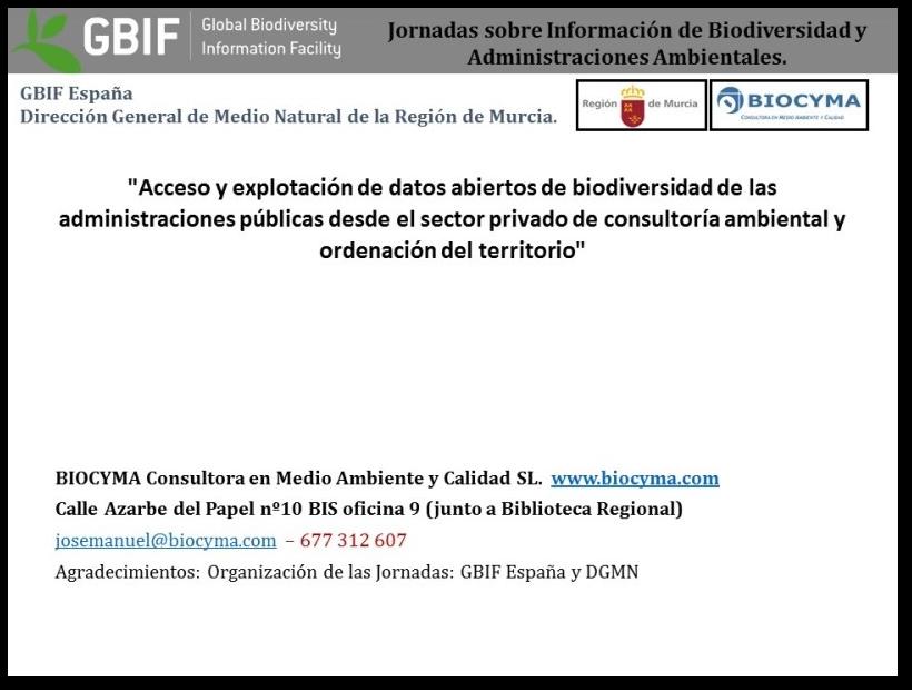 BIOCYMA participará en unas Jornadas sobre Información de Biodiversidad y Administraciones Ambientales.