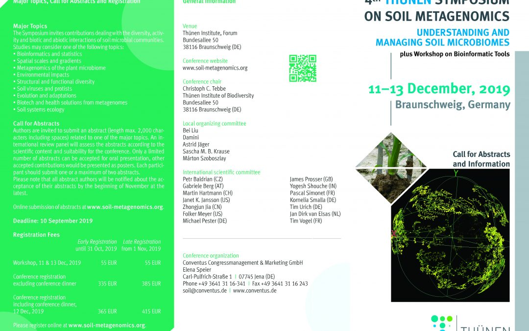 BIOCYMA en el congreso internacional 4th Thünen Symposium on Soil Metagenomics 2019 a celebrar en Braunschweig, Alemania.
