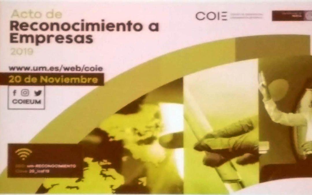 BIOCYMA participa en el Acto de reconocimiento a empresas organizado por el COIE de la Universidad de Murcia