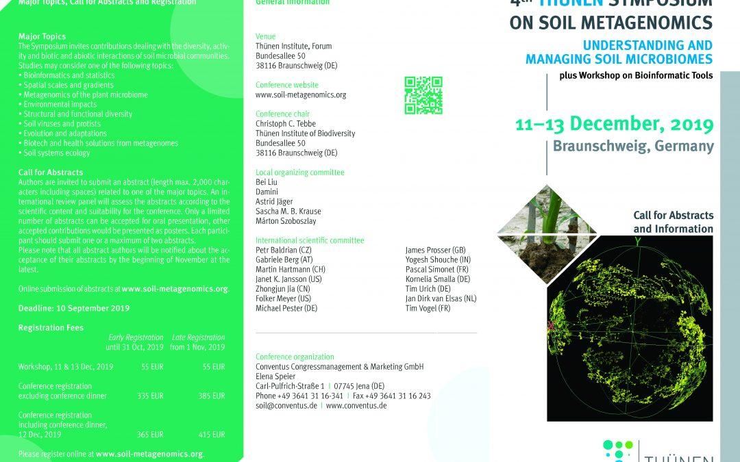 BIOCYMA en el congreso internacional 4th Thünen Symposium on Soil Metagenomics 2019 a celebrar en Braunschweig, Alemania.